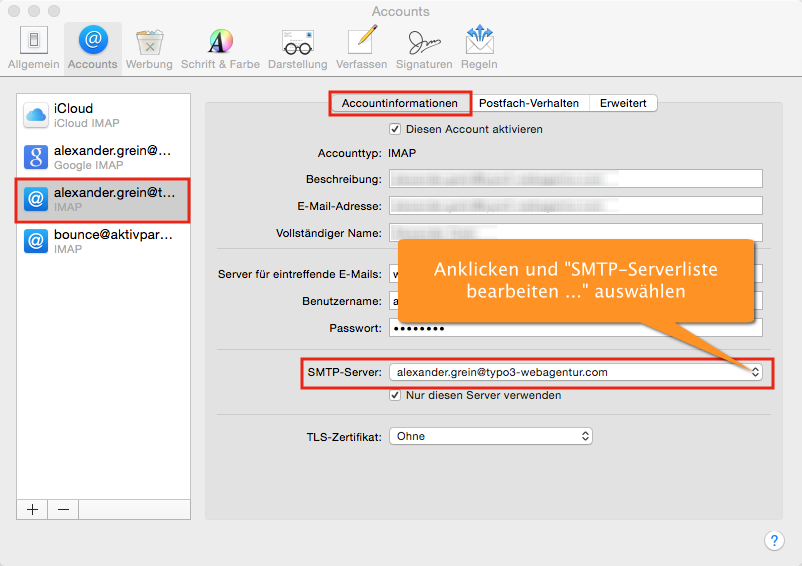 SMTP-Server-Einstellungen