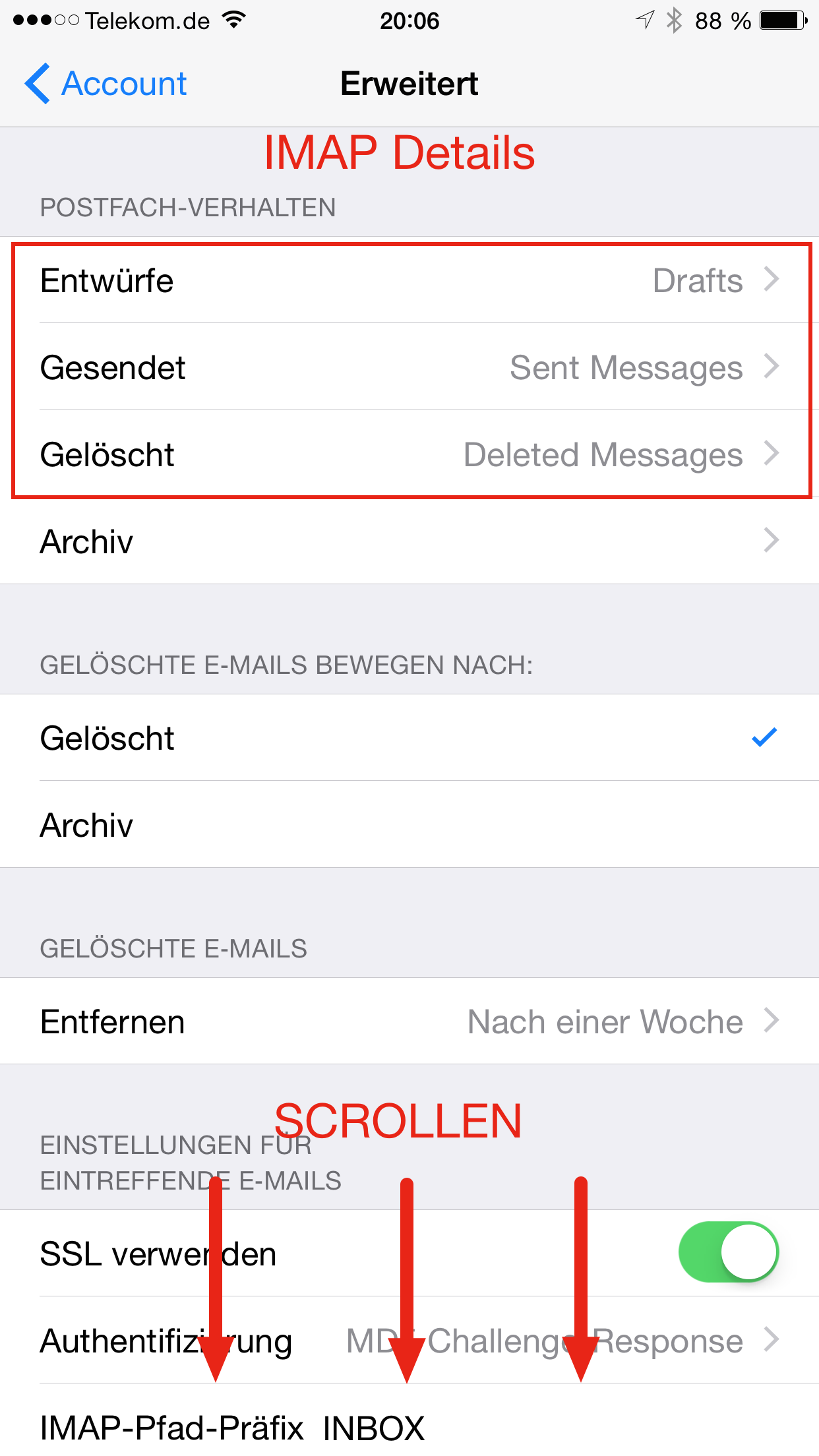 Apple Mail IMAP Konto IMAP Details 1