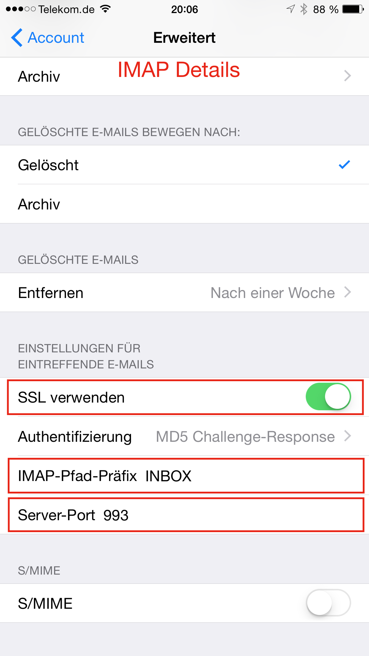 Apple Mail IMAP Konto IMAP Details 2