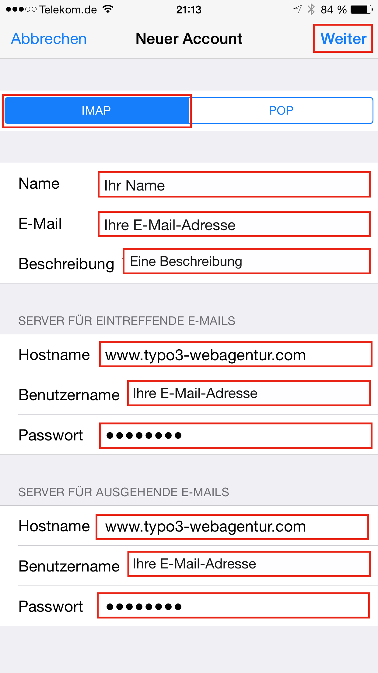 Apple Mail IMAP Konto Neu